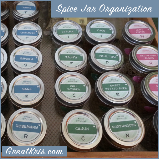 GreatKris.com Spice Jar Organization